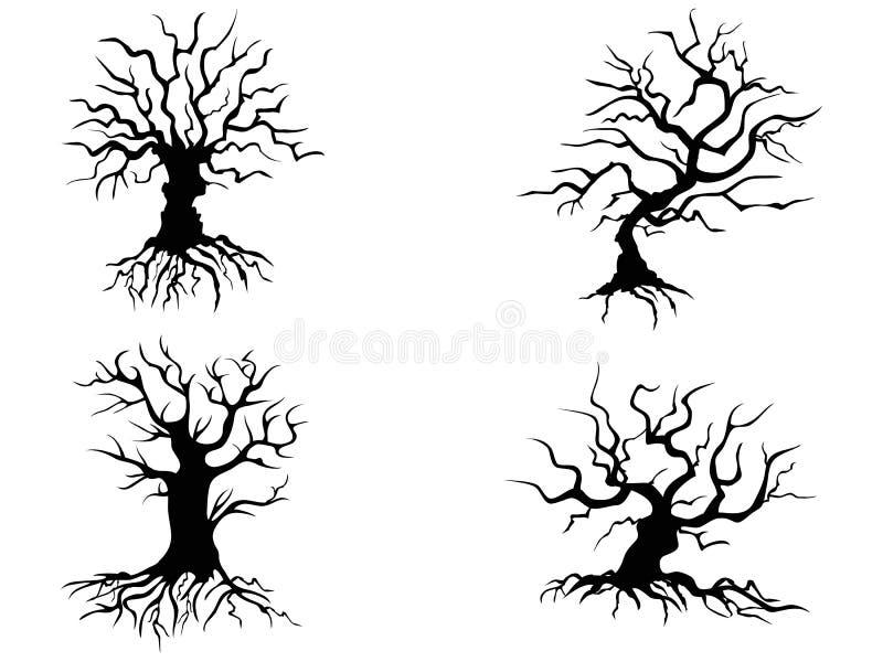 Árvores de Dia das Bruxas ilustração do vetor