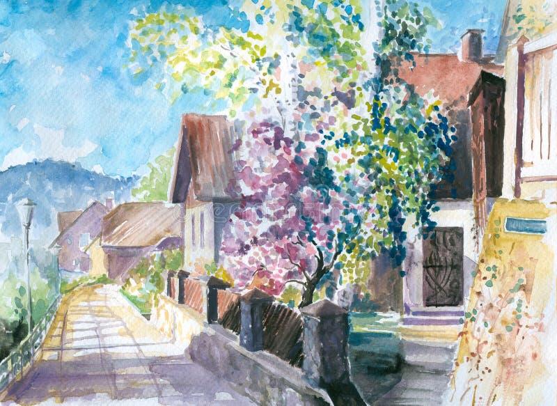 Árvores de florescência ilustração do vetor