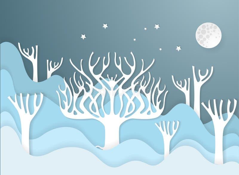 Árvores de floresta da inundação, conceito do desastre ilustração royalty free