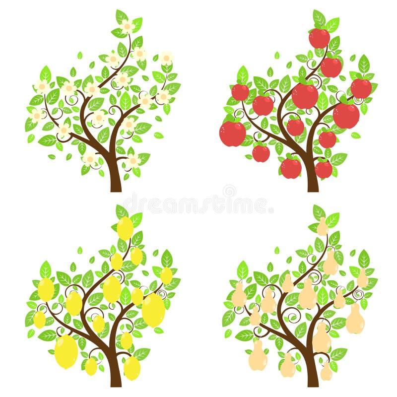 Árvores de fruto estilizados ilustração do vetor