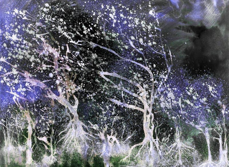 Árvores de incandescência em uma tempestade noturna ilustração do vetor