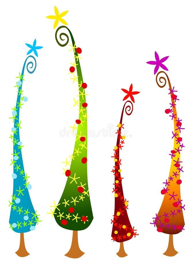 Árvores de Natal 2 de Cartoonish ilustração royalty free