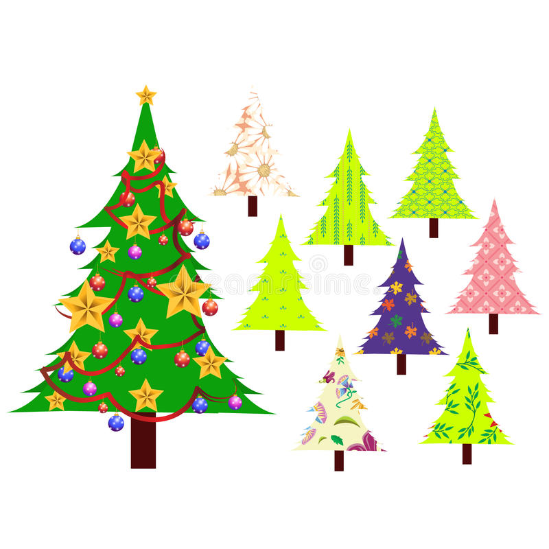 Download Árvores de Natal ajustadas ilustração do vetor. Ilustração de tradicional - 16867844