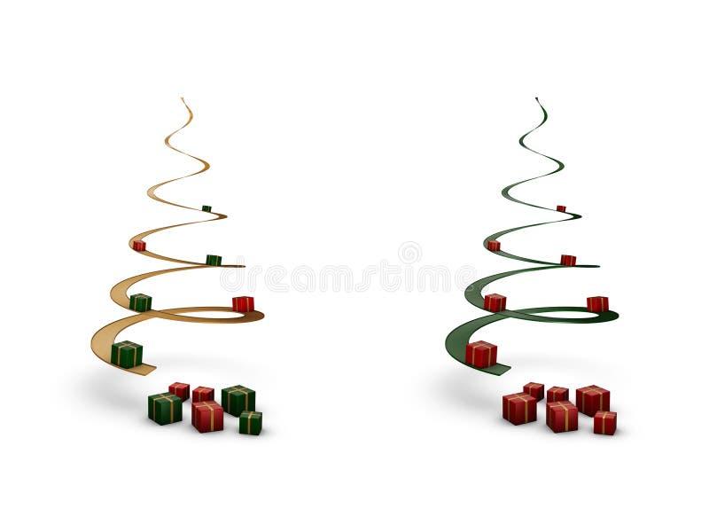 Árvores de Natal espirais com giftboxes ilustração royalty free