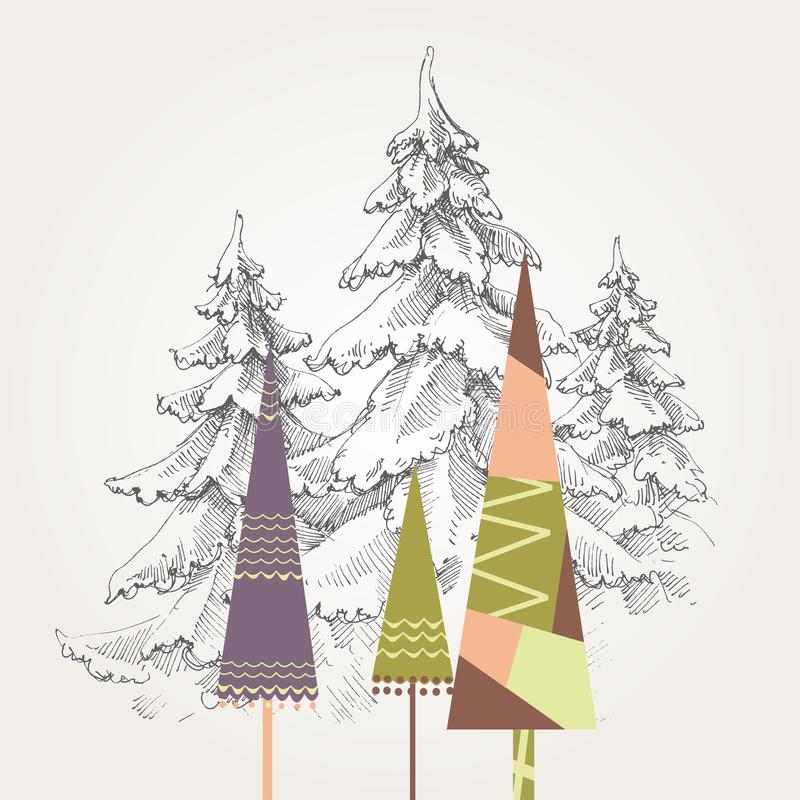 Árvores de Natal estilizados ilustração do vetor