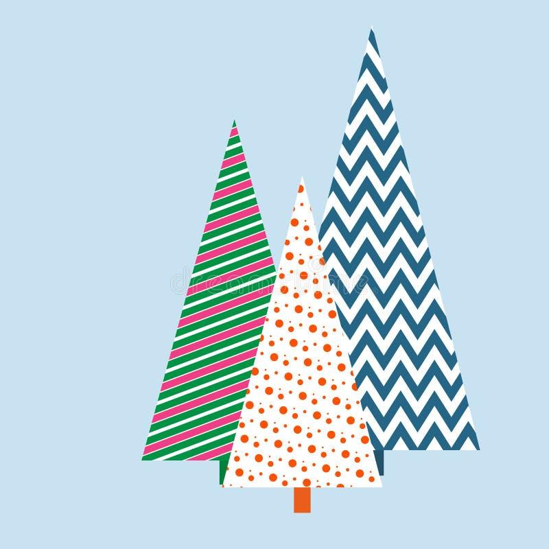 Árvores de Natal estilizados com um fundo festivo do inverno geométrico do teste padrão para a bandeira do molde do convite do ca ilustração do vetor