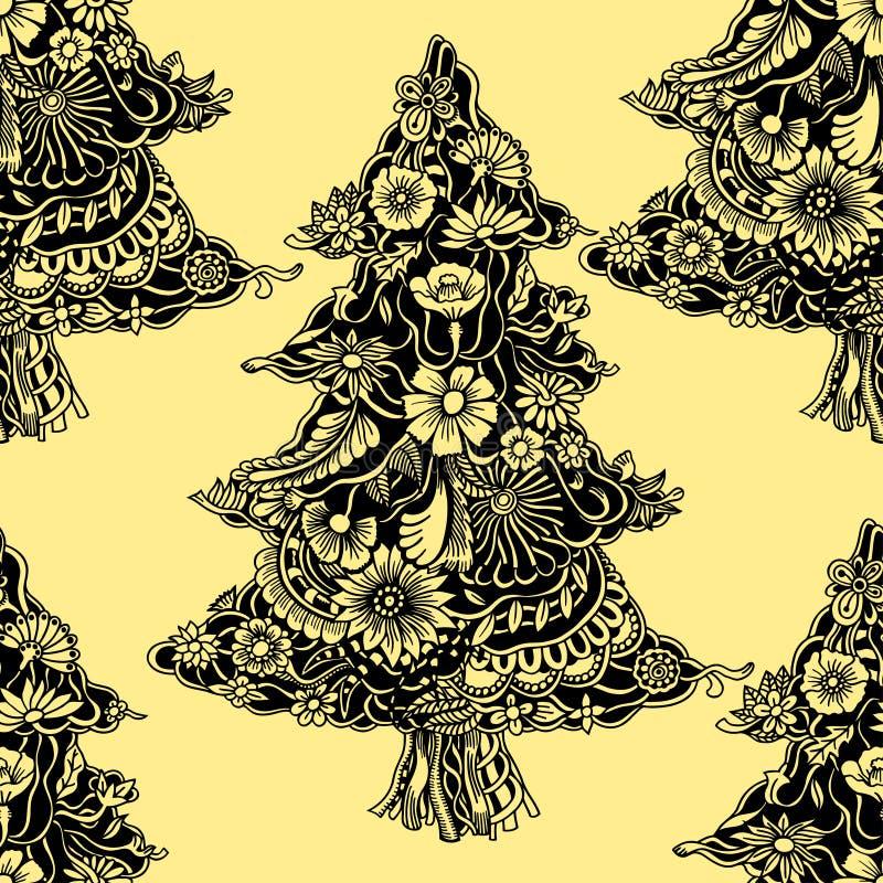 Árvores de Natal tecidas das flores ilustração do vetor
