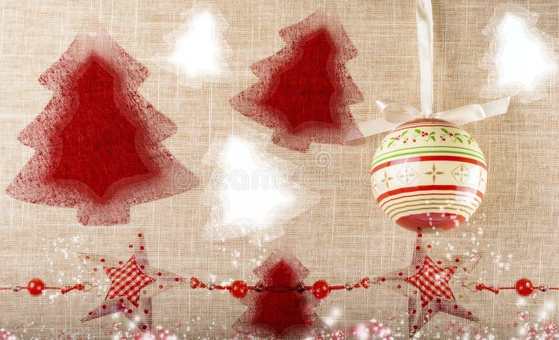 Árvores de Natal vermelhas carimbadas do vintage imagem de stock