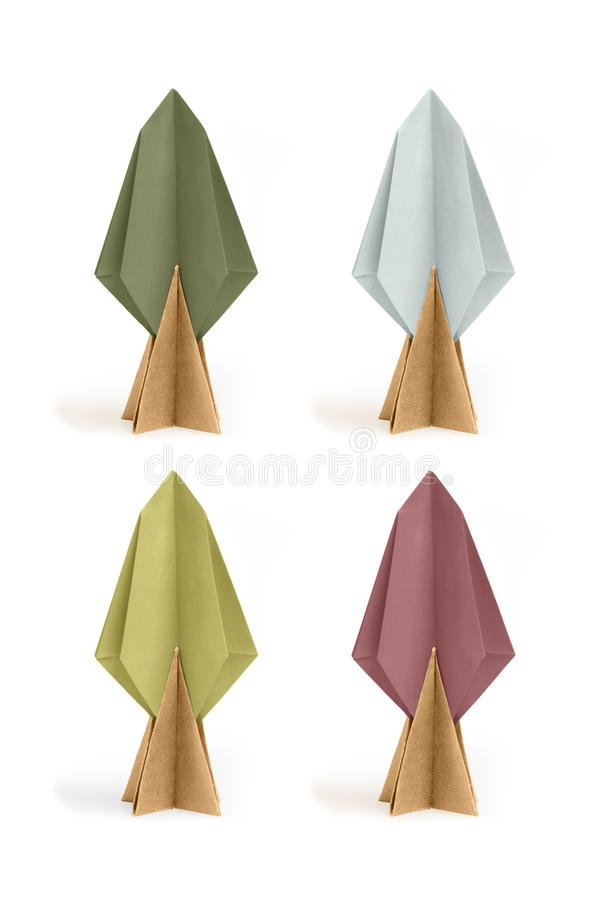 Árvores de papel do origâmi foto de stock