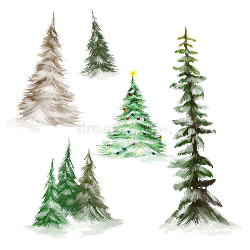 Árvores de pinho e árvores de Natal ilustração stock