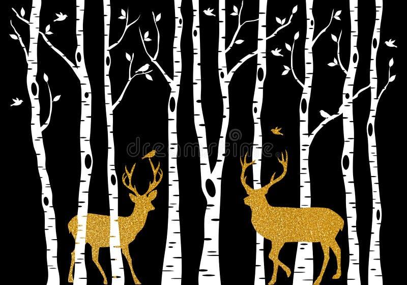 Árvores de vidoeiro com os cervos do Natal do ouro, vetor ilustração royalty free