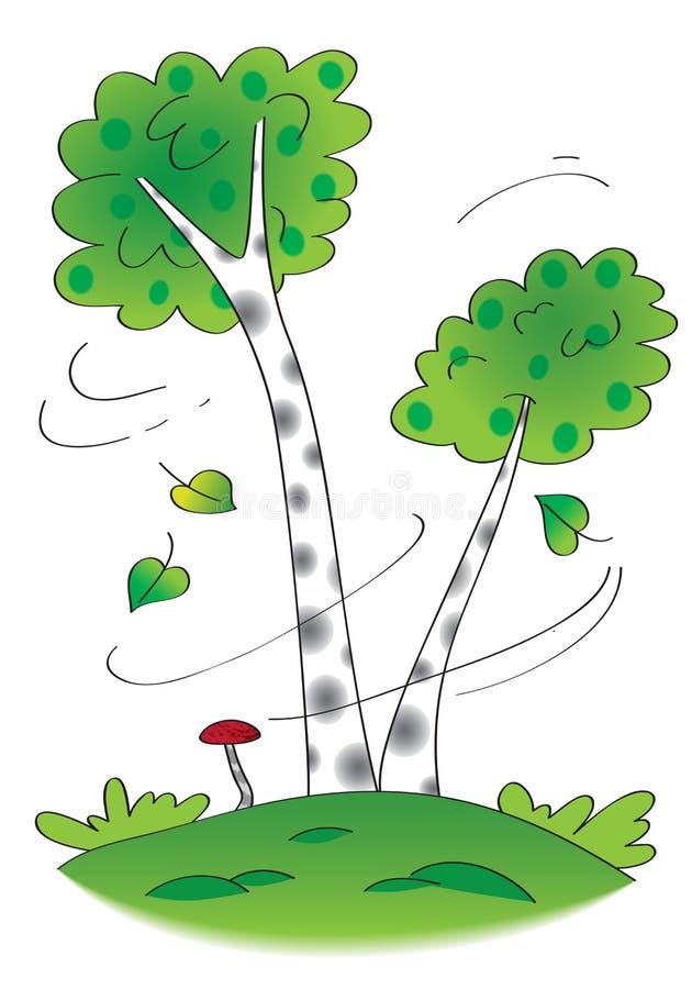 Árvores de vidoeiro no vento ilustração royalty free