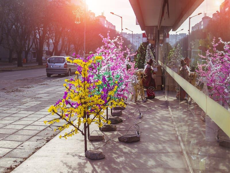 Árvores do diodo emissor de luz de tamanhos diferentes e das cores expostos no passeio perto da entrada à loja, vendendo o mal do fotografia de stock royalty free