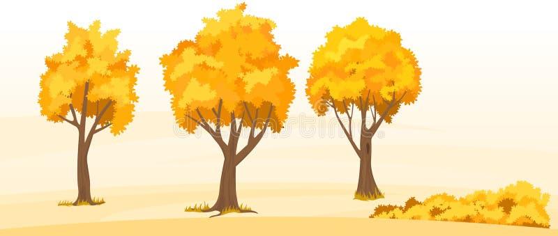 Árvores do outono ajustadas ilustração stock