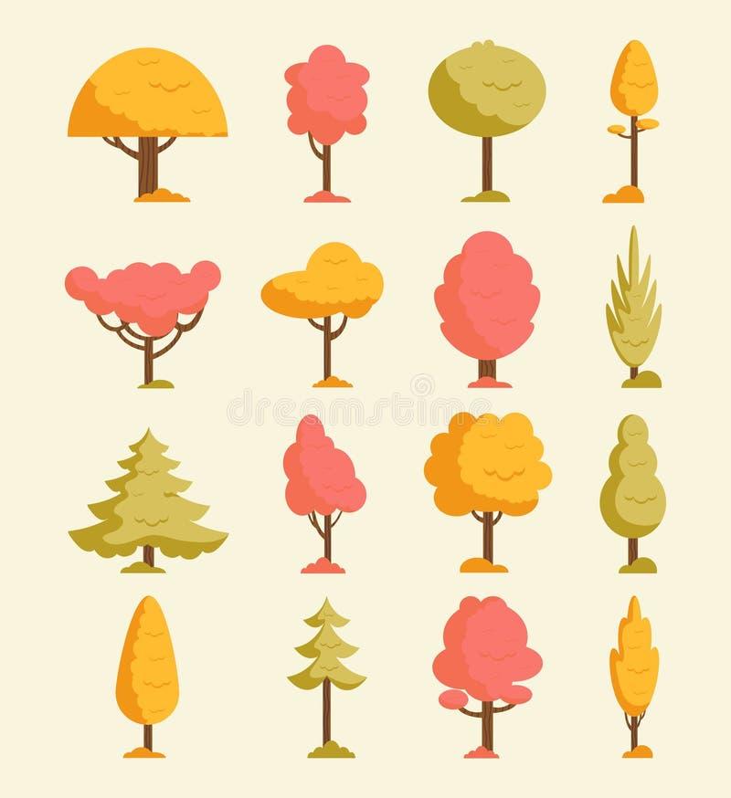Árvores do outono ajustadas Árvores e folhas alaranjadas da queda Coleção colorida de elementos do outono Ilustração do vetor ilustração do vetor