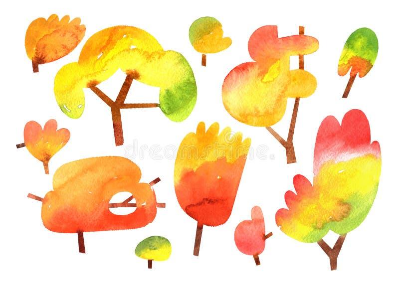 Árvores do outono da aquarela isoladas no fundo branco ilustração royalty free