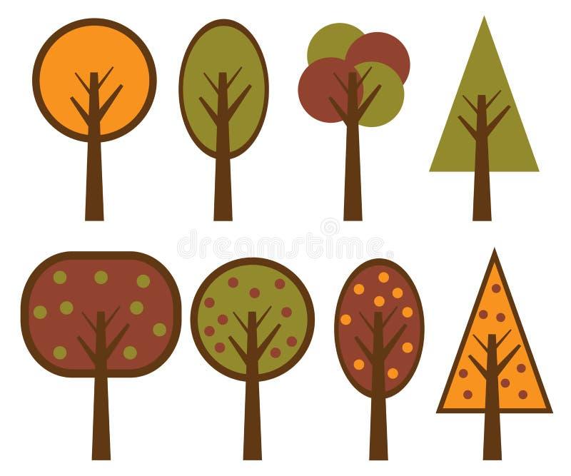 Árvores do vetor ajustadas ilustração royalty free