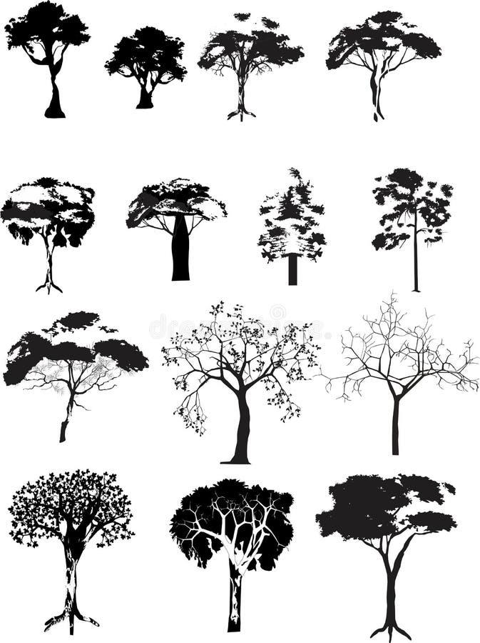 Árvores do vetor ajustadas ilustração stock