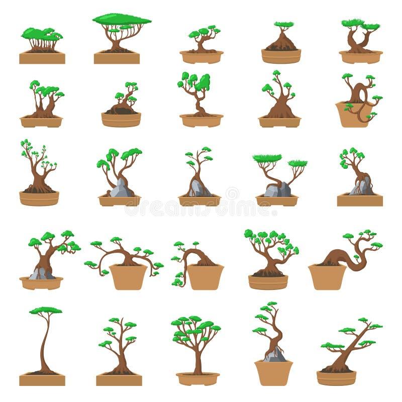 25 árvores dos bonsais dos desenhos animados ajustadas ilustração royalty free