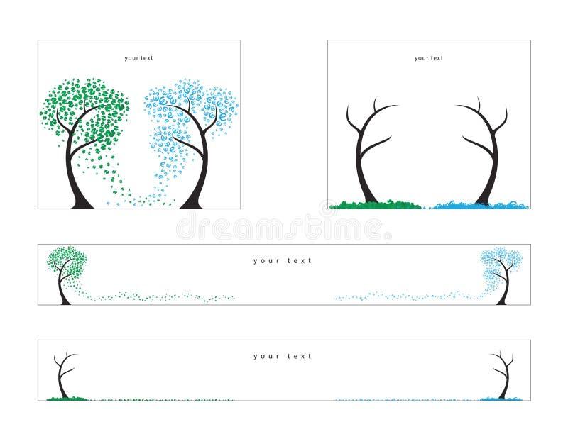 Árvores dos dólares e do euro, queda Ilustração do vetor para bandeiras da Web ilustração royalty free