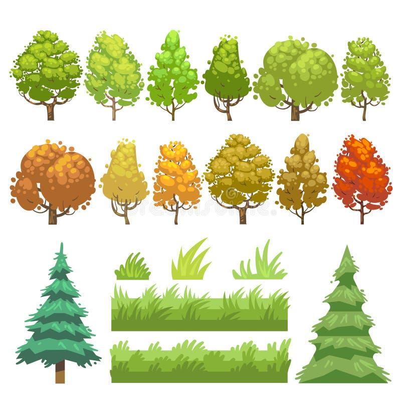 Árvores e ícones lisos do vetor da grama ajustados ilustração stock