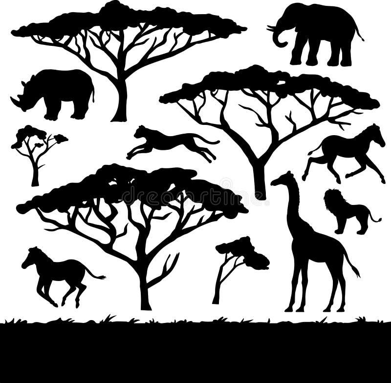 Árvores e animais africanos, grupo de silhuetas ilustração do vetor