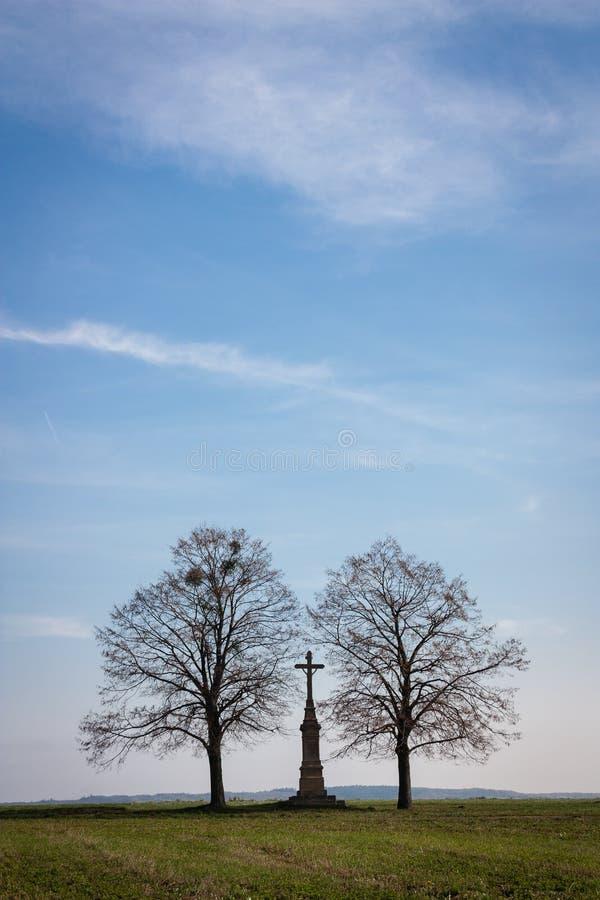 Árvores e cruz imagem de stock
