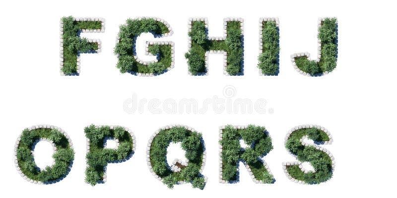 Árvores e fonte da grama com beira de avaliação em unidades cúbicas cinzenta foto de stock royalty free
