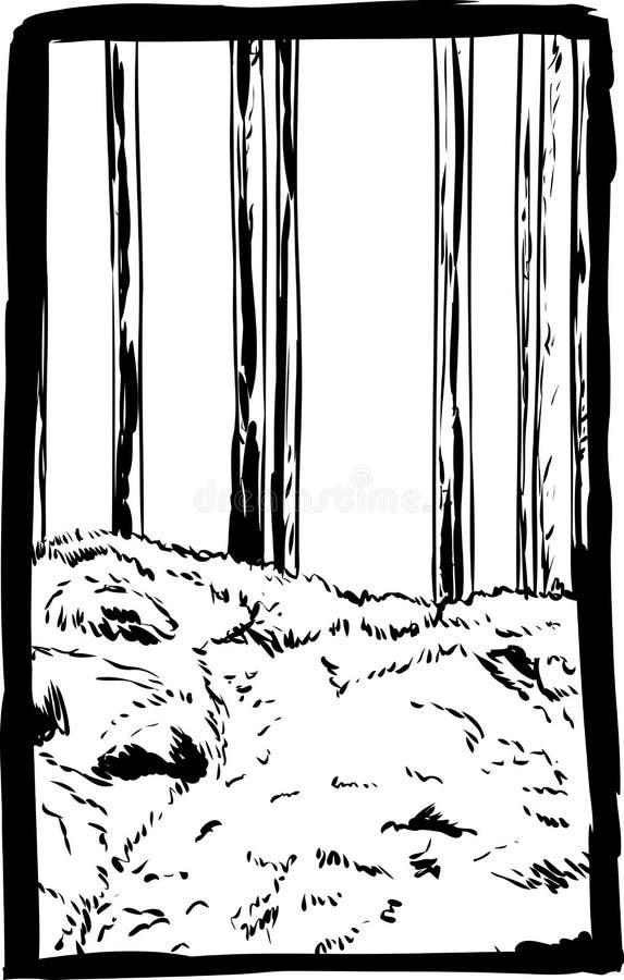Árvores e fuga esboçadas de floresta ilustração royalty free