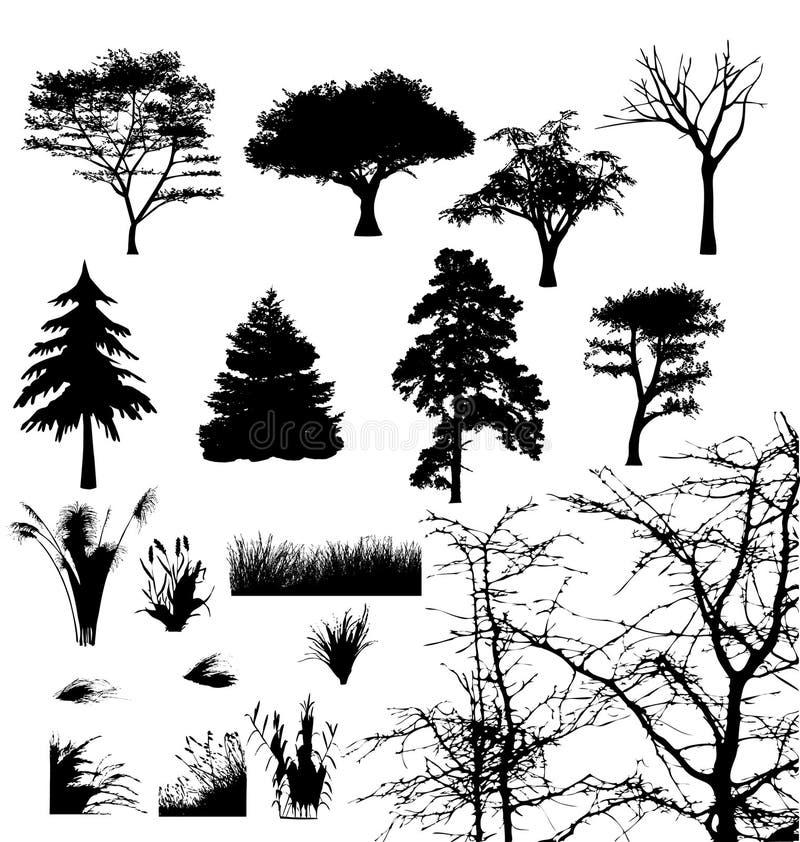 Árvores e gramas. ilustração royalty free