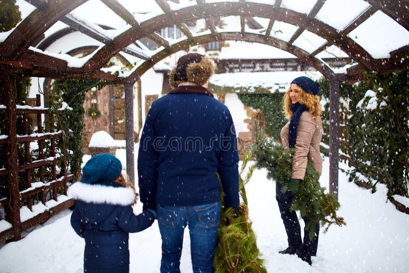 Árvores e ramos levando de Natal da família autêntica a abrigar A mãe e a filha do pai preparam-se pelo ano novo e foto de stock