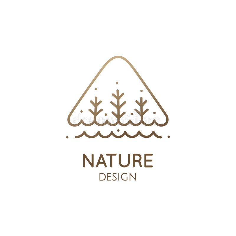Árvores e rio simples do logotipo do triângulo ilustração stock