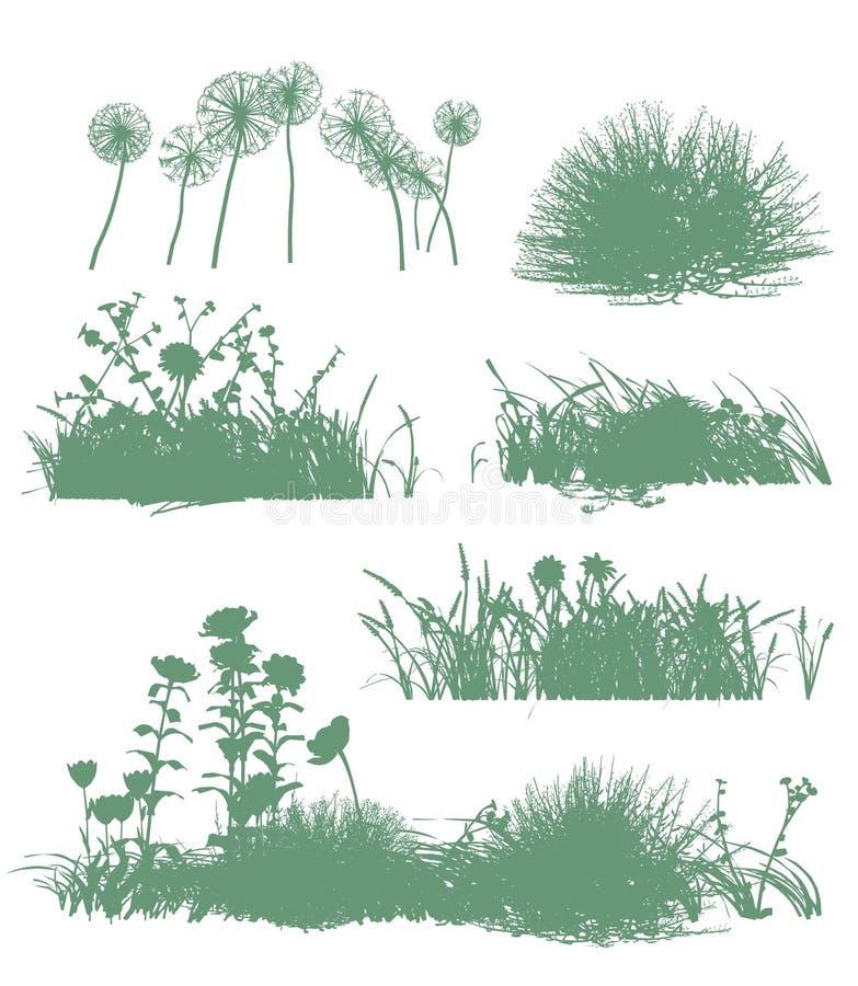 Árvores e silhuetas da grama ilustração royalty free