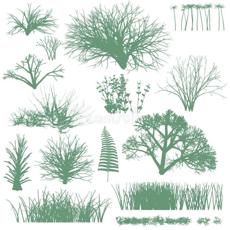 Árvores e silhuetas da grama ilustração stock