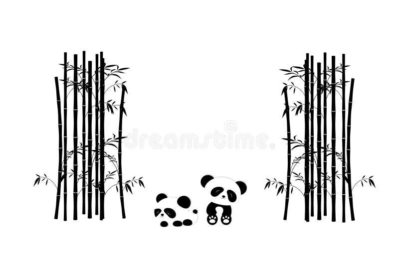 Árvores engraçadas de Panda Playing In The Bamboo - cor preto e branco ilustração royalty free