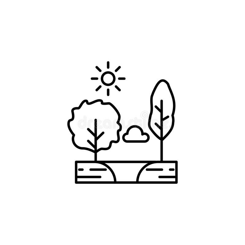 Árvores, ensolaradas, nuvem, ícone do esboço do lago Elemento da ilustração das paisagens Os sinais e os símbolos esboçam o ícone ilustração stock