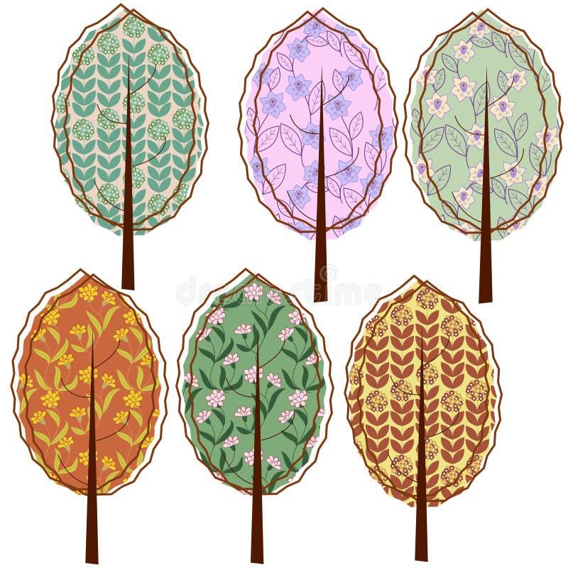 Árvores estilizados ilustração stock