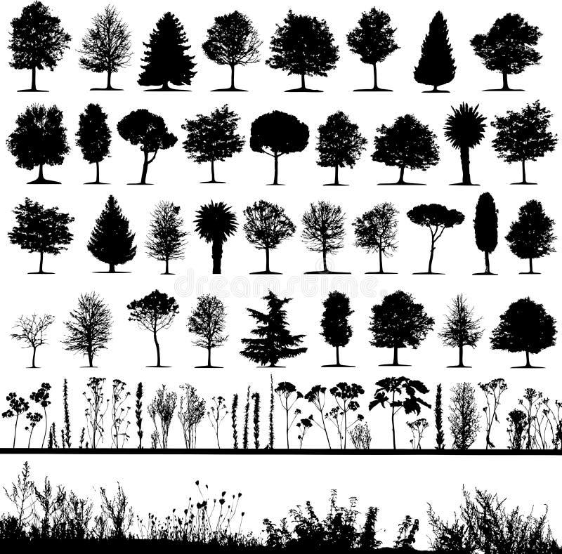 Árvores, grama, vetor da planta ilustração do vetor