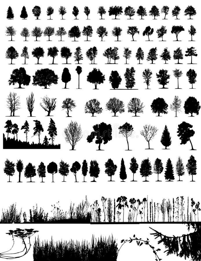Árvores, grama, vetor da planta ilustração stock