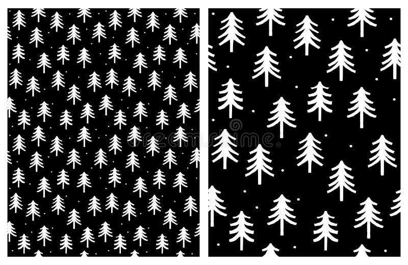 Árvores infanteis bonitos do White Christmas do estilo Projeto simples do sumário do inverno ilustração stock