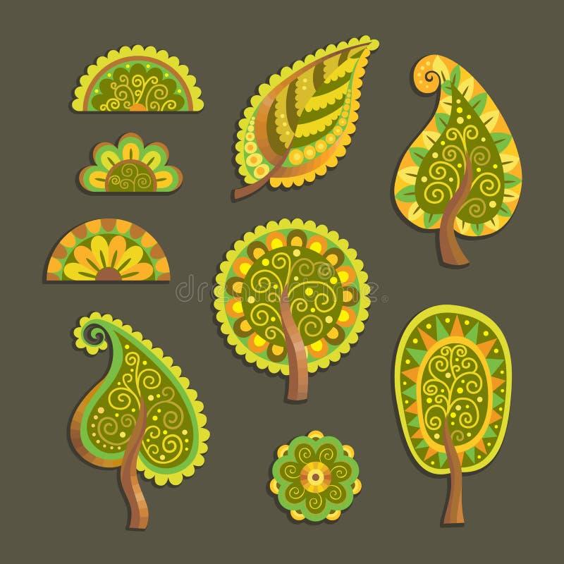 Árvores lisas decorativas do vetor do estilo ilustração royalty free