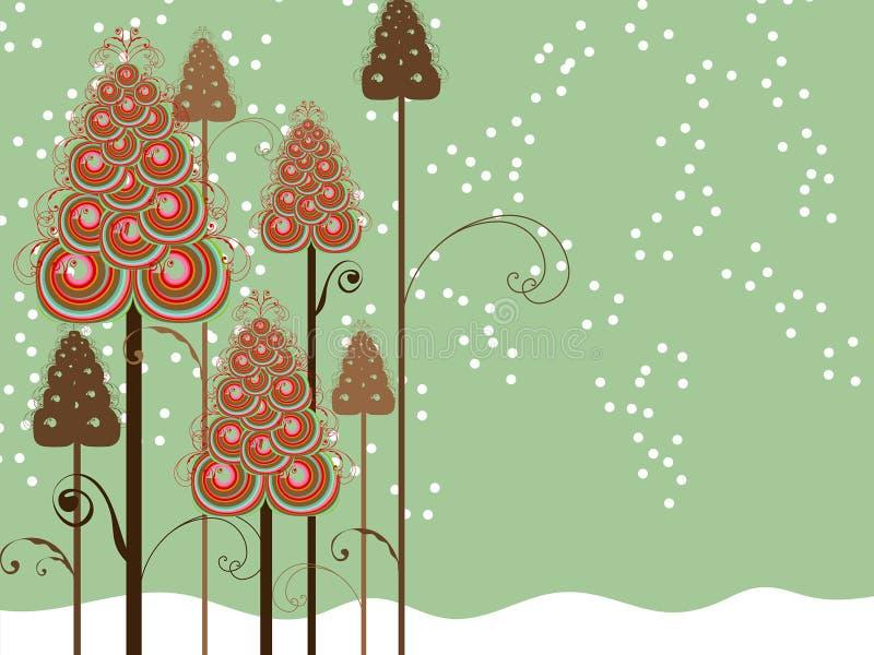 Árvores lunáticas do inverno dos redemoinhos ilustração do vetor