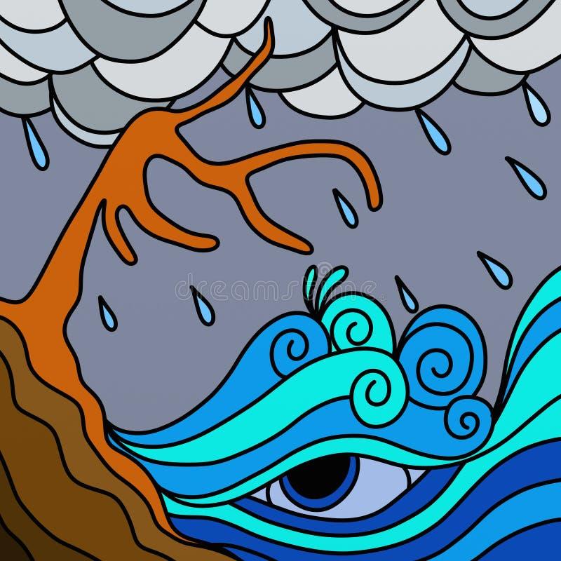 Árvores na tempestade ilustração do vetor
