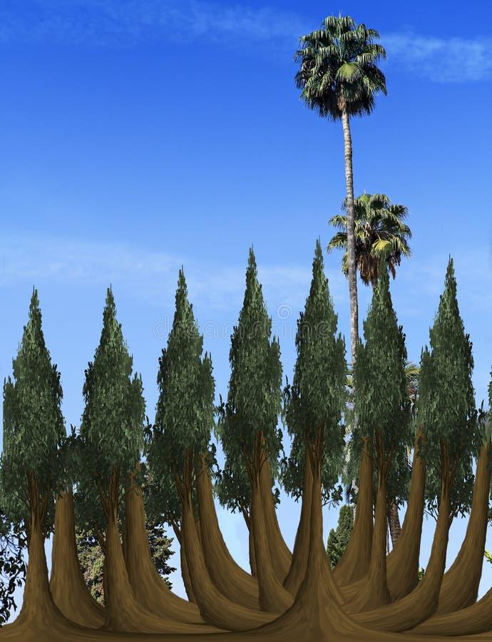 Árvores no céu azul ilustração royalty free