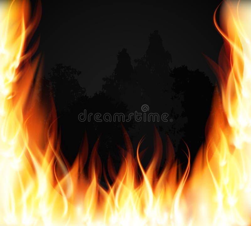 Árvores no fogo Incêndio Chamas especiais de queimadura do efeito da luz do fogo Ilustração do vetor ilustração stock