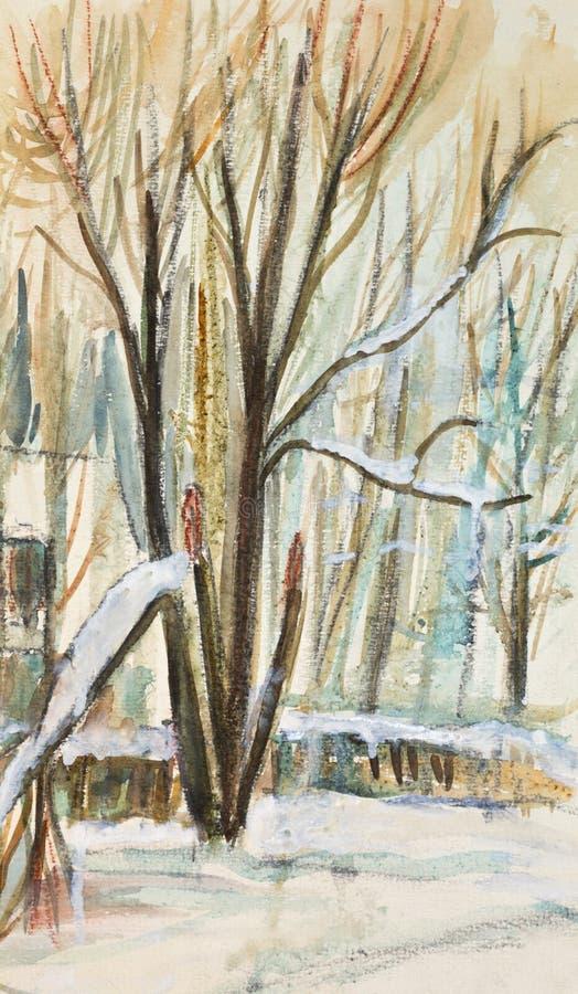 Árvores no inverno ilustração stock