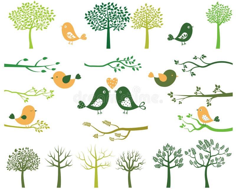 Árvores, pássaros e silhuetas dos ramos ilustração do vetor