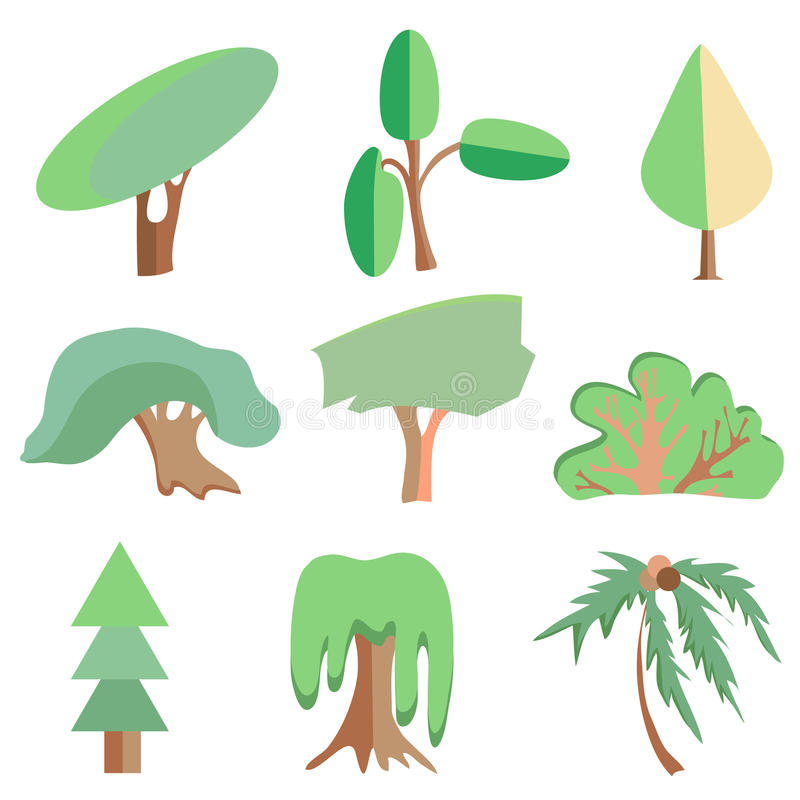 Árvores, palma, carvalho, abeto vermelho, arbusto, salgueiro, simbólico ilustração stock