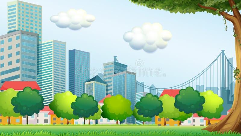 Árvores perto das construções altas ilustração stock