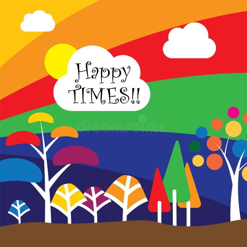 Árvores & plantas coloridas na floresta ou na selva - vector o conceito ilustração stock